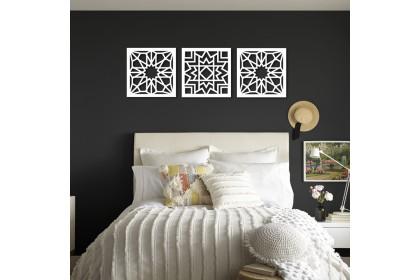 3 Panel 3D Islamic Pattern Cut Out Wall Art Geometry Pattern Kerawang Wall Deco Panel